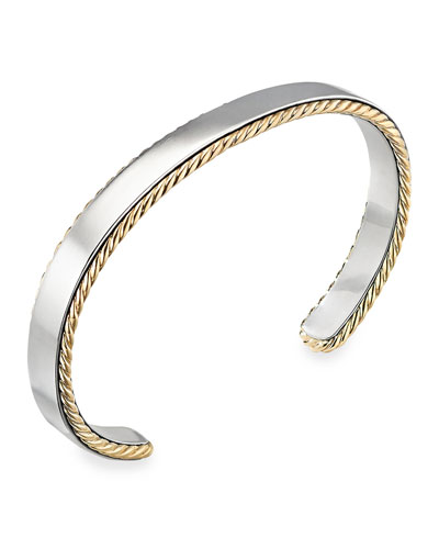 Men's 9mm 18k-Gold Cable Sterling Silver Cuff Bracelet