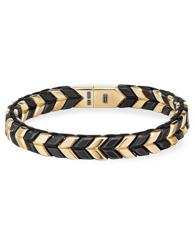 Men's 9mm Chevron Bracelet in 18k Gold and Titanium