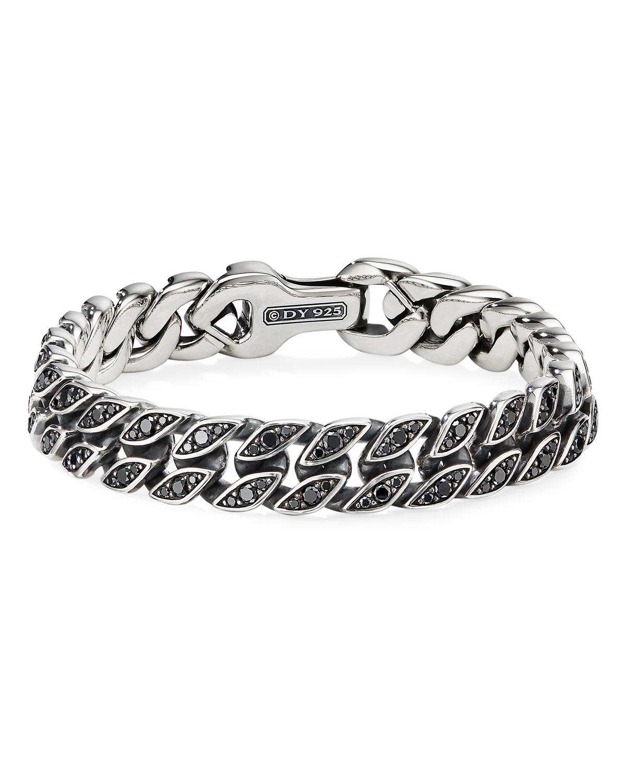 David Yurman Men's 11.5mm Silver Curb Chain Bracelet with Black Diamonds