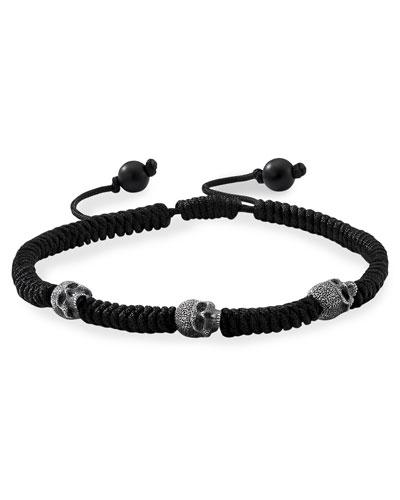 Men's Skull-Beaded Woven Bracelet