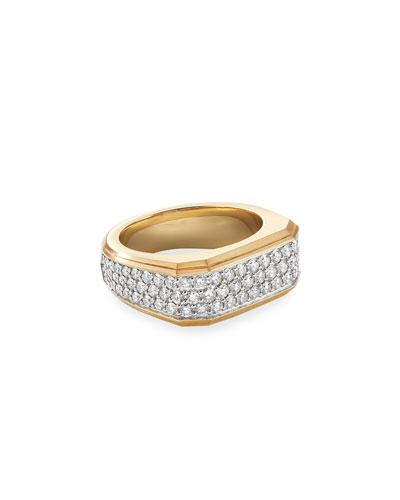 Men's Pave Wide Roman Signet Ring