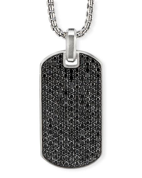 David Yurman Accessories MEN'S PAVE TAG W/ BLACK DIAMONDS