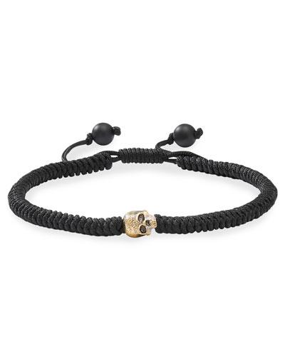 Men's 18k Skull-Beaded Woven Bracelet
