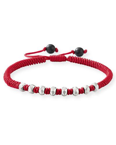 Men's Fortune Woven Bracelet w/ Beaded Embellishments