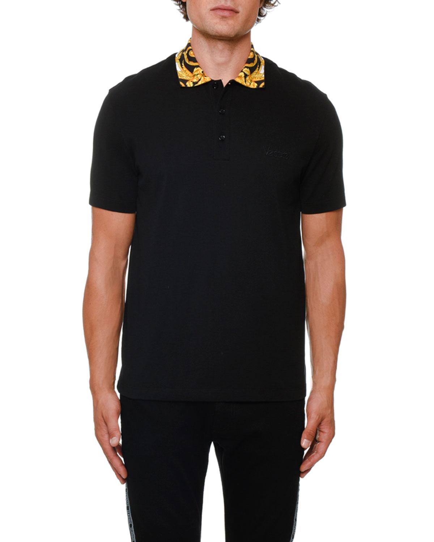 e4a824665b84 Versace Men s Contrast-Collar Pique Polo Shirt