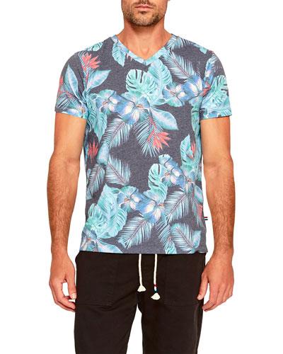 Men's Night Blooms V-Neck T-Shirt