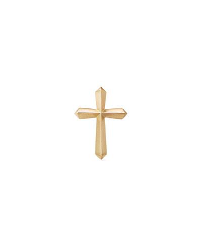 Men's 18k Gold Roman Cross Stud Earring  Single