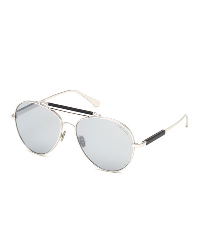 Men's Metal Aviator Sunglasses with Mirrored Photochromic Lenses