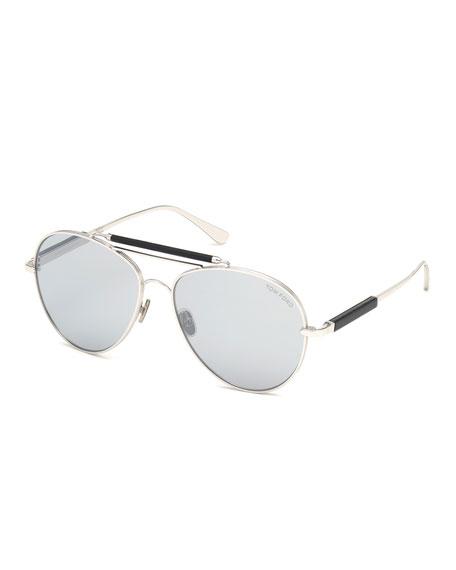 Tom Ford Sunglasses MEN'S METAL AVIATOR SUNGLASSES WITH MIRRORED PHOTOCHROMIC LENSES