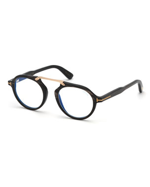 8d421cb438 TOM FORD Men s Tom N.15 Shiny Horn Round Blue-Blocking Glasses