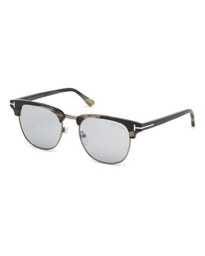 Men's Tom N.17 Half-Rim Horn Sunglasses with Photochromic Mirror Lenses