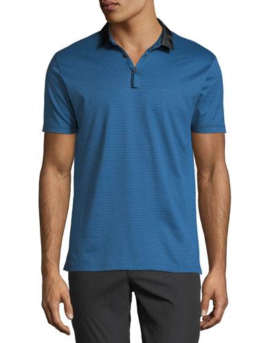 Men's Striped Polo Shirt w/ Grosgrain Trim