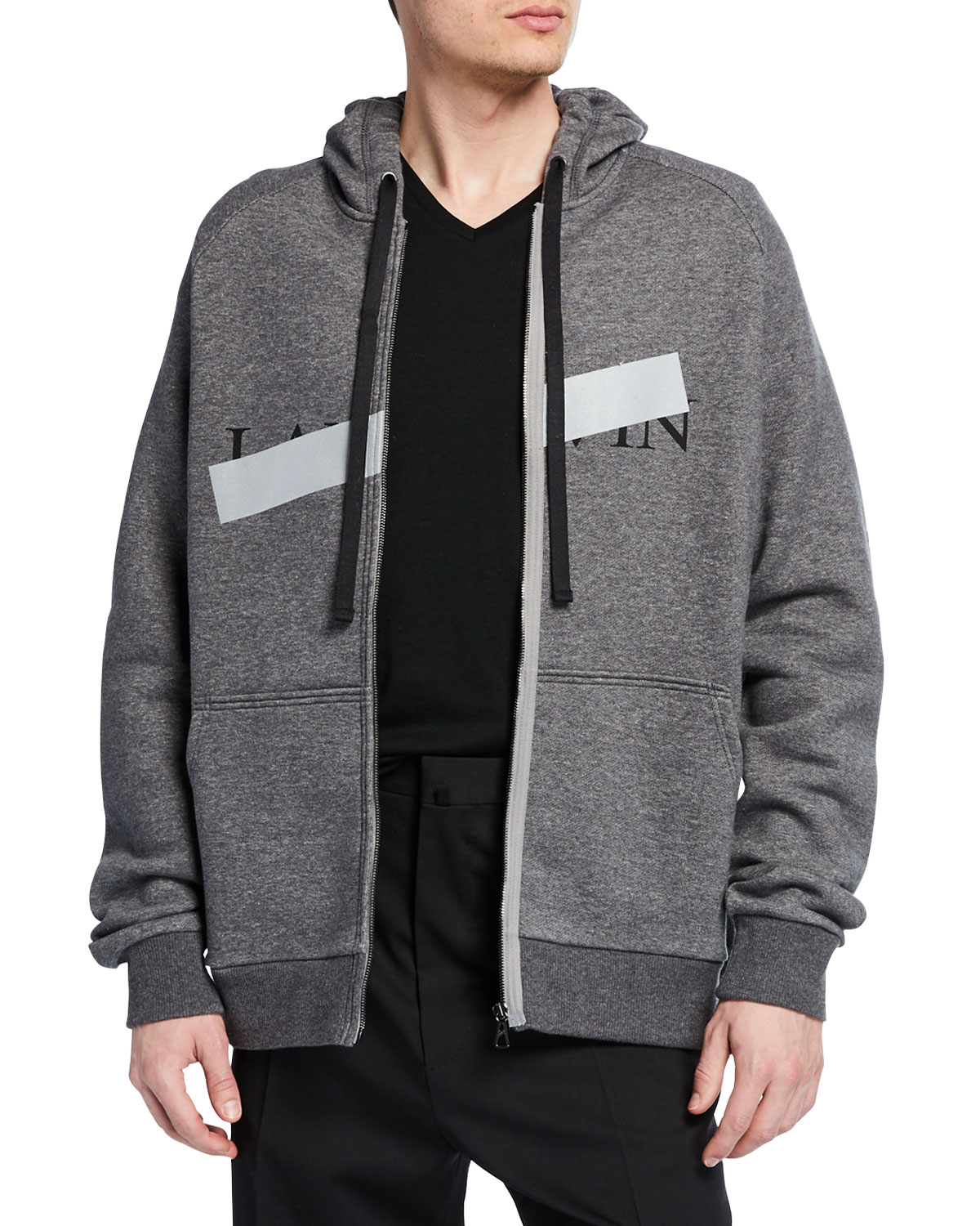 8ad717616840 Lanvin Men s Anti-Logo Fleece Zip-Front Hoodie