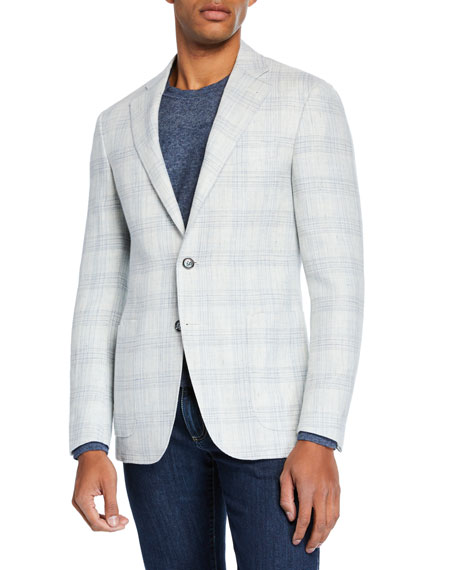 Canali Men's Plaid Linen/Wool Sport Coat