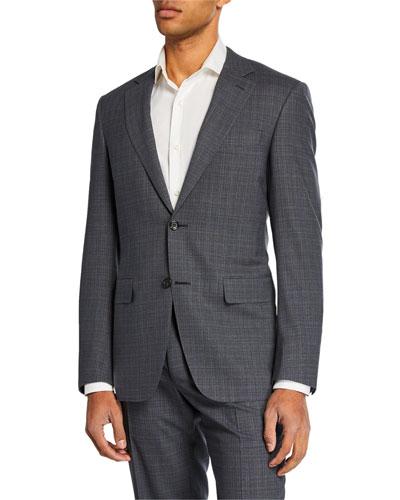 Men's Impeccabile Striated Checked Two-Piece Suit