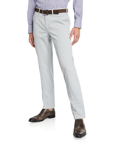 Men's Stretch-Twill Flat-Front Pants