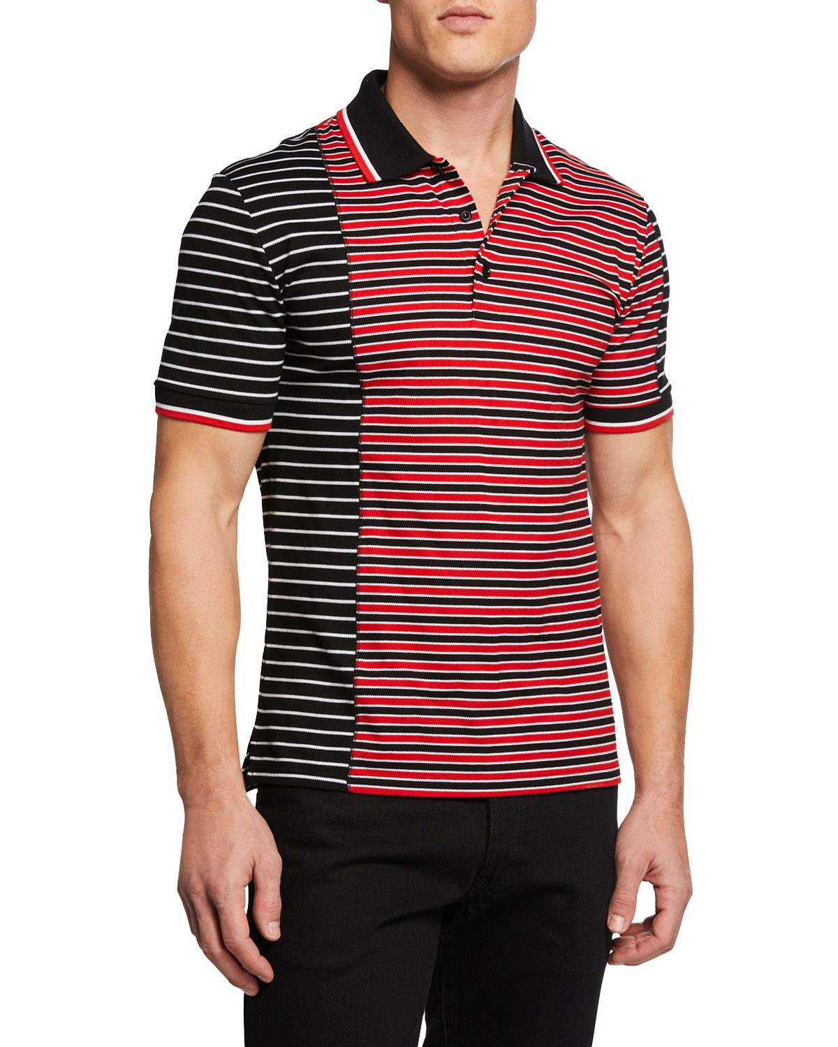 d57f11e8538ce Givenchy Men s Asymmetrical-Stripes Slim-Fit Polo Shirt