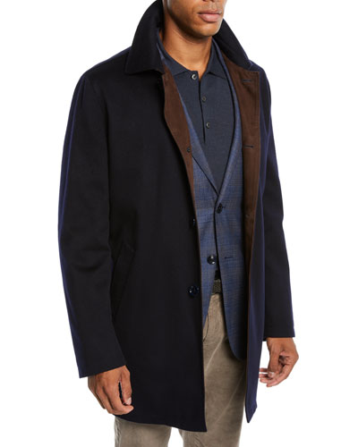 Men's Cashmere Top Coat with Suede Detail