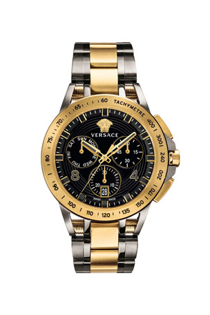 Versace Men's 45mm Sport Tech Chronograph Watch, Gold/Gray
