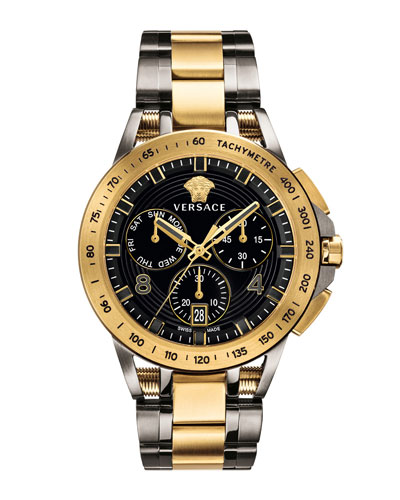Men's 45mm Sport Tech Chronograph Watch  Gold/Gray