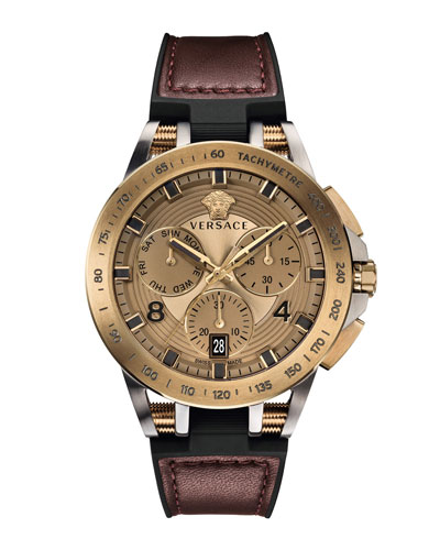 Men's 45mm Sport Tech Chronograph Watch  Burgundy