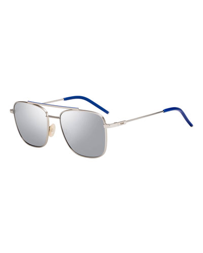 Men's Square Metal Navigator Sunglasses - Mirrored Lenses