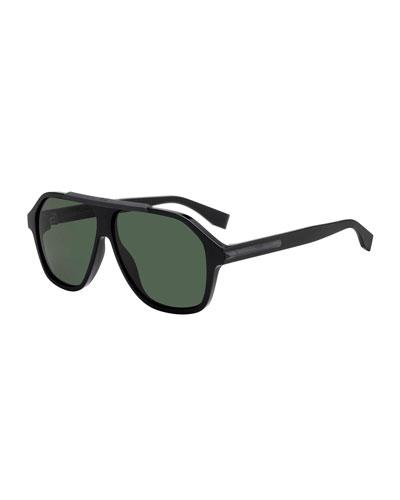 Men's Plastic Square Shield Sunglasses