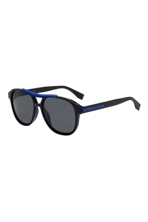 Fendi Men's Plastic Aviator Sunglasses
