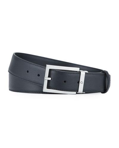 Men's Square-Buckle Leather Belt