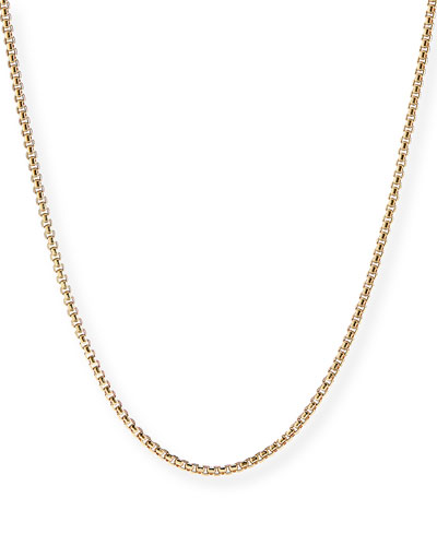 Men's 18k Gold Box Chain Necklace, 22
