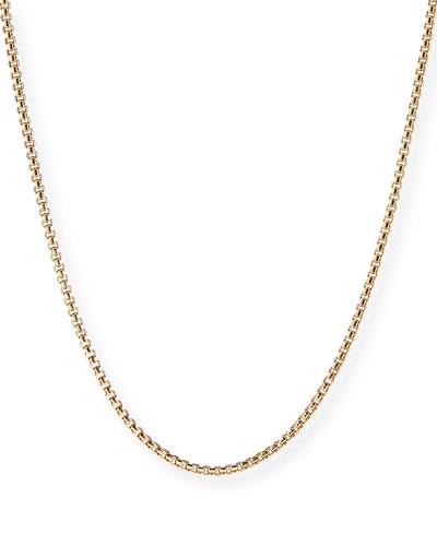Men's 18k Gold Box Chain Necklace, 24