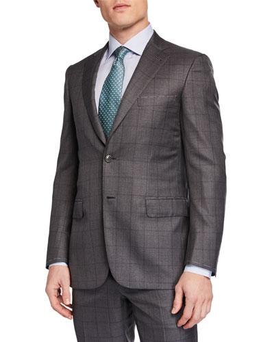 Men's Windowpane Two-Piece Suit