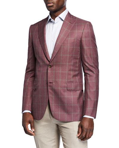 Men's Windowpane Wool-Silk Two-Button Jacket