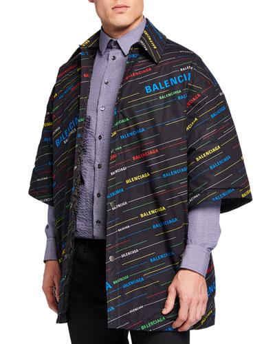 Men's Washed Padded Multi Stripe Overshirt