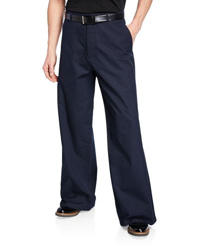 Men's Wide-Leg Cotton Trousers