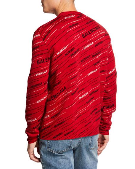 Men's Contrast Logo-Striped Jacquard Sweater