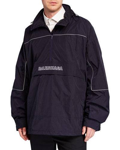 Men's Embroidered Wrinkled Wind-Resistant Jacket