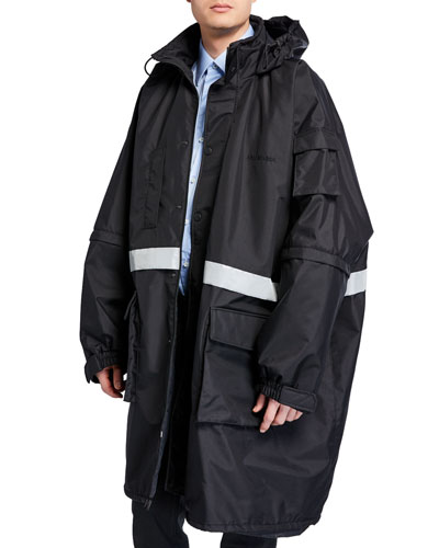 Men's Reflective Stripe Zip-Front Parka