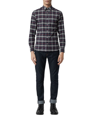 Men's George Check Button-Down Shirt