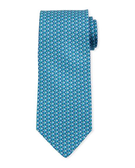 Salvatore Ferragamo Fish-Print Silk Tie, Blue