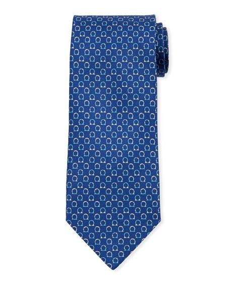 Salvatore Ferragamo Gancio Silk Tie, Blue