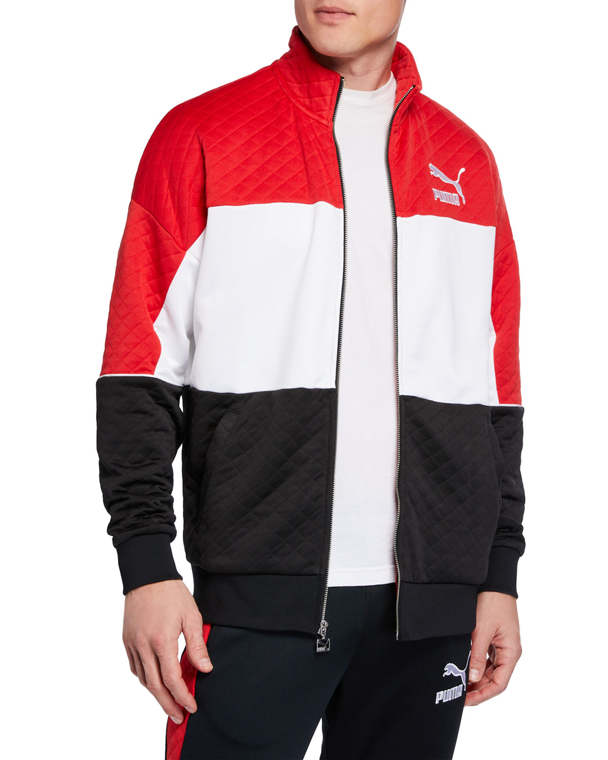 8d38ea829fc4 Puma Men s Retro Tricolor Quilted Jacket