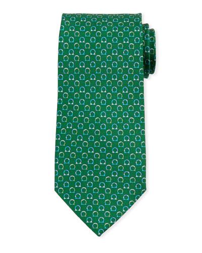 Gancio Silk Tie  Green