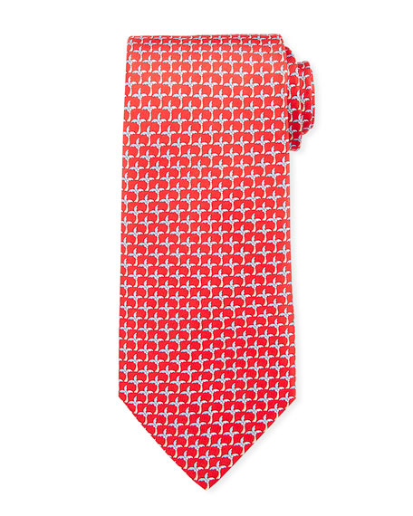 Salvatore Ferragamo Palm Tree Silk Tie, Red