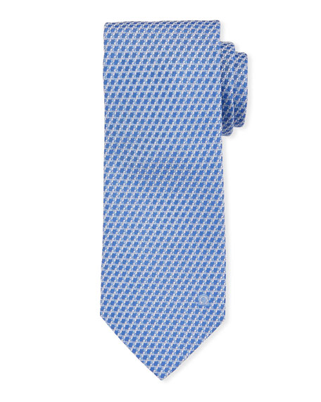 Salvatore Ferragamo Swirl Texture Silk Tie, Blue