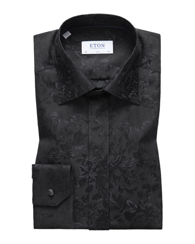 Men's Slim Fit Tonal Floral Formal Dress Shirt
