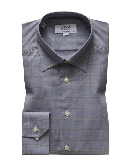 Eton Men's Contemporary Fit Flanella Windowpane Dress Shirt