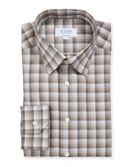 Eton Men's Contemporary-Fit Plaid Dress Shirt