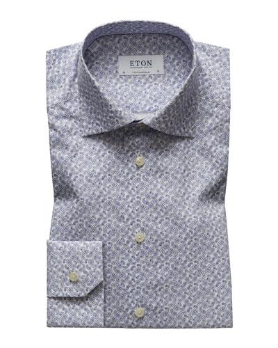 Men's Contemporary Fit Paisley Pines Print Dress Shirt