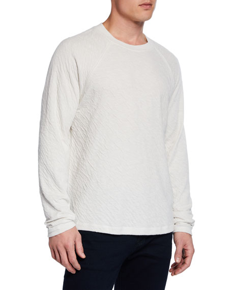 7 for all mankind Men's Long-Sleeve Crinkled Crewneck